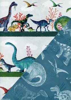 """Recto verso """"Balade de dinosaures / les dinosaures fond bleu"""" (50x70)"""