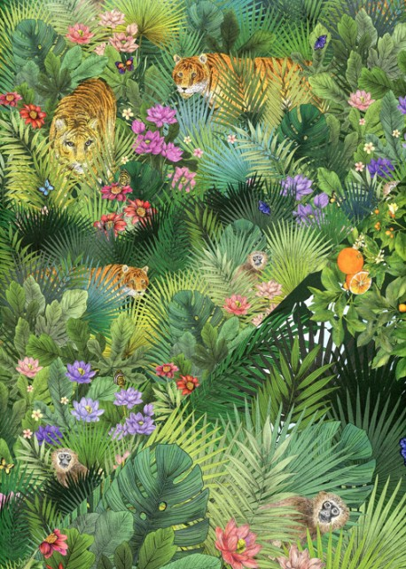 """Recto verso """"La savane / les tigres dans les feuillages"""" (50x70)"""
