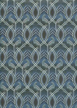 Entrelacs et oiseaux fond bleu (50x70)