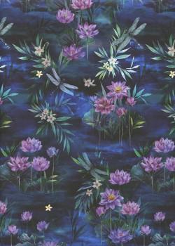 Lys et libellules fond bleu (50x70)