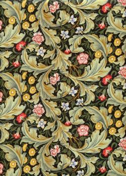 Tapisserie floral verte et jaune fond noir réhaussé or (50x70)