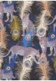 Léopards et plumes de paons réhaussé or (50x70)