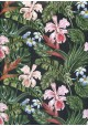 Floral rose et vert fond noir (68x98)
