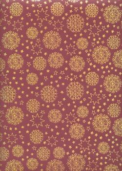 Les rosaces de noël or sur fond bordeaux (68x98)