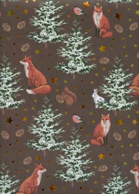 Les renards dans la forêt de sapins fond marron réhaussé or (68x98)