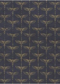 Lokta les grues or fond bleu marine (50x75)