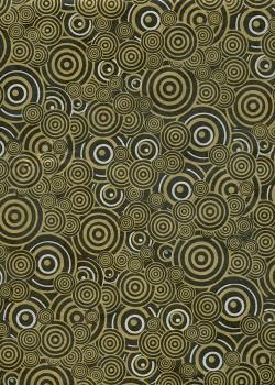 Lokta cercles superposés or et argent fond noir (50x75)