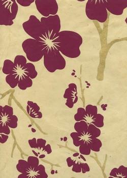 Lokta cerisier en fleurs bordeaux et or fond beige (50x75)