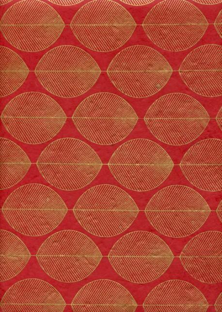 Lokta guirlande de feuilles or fond rouge (50x75)