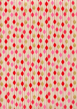 """""""Guirlande"""" rouge rose et or (50x70)"""