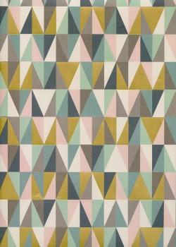 Géométrique ambiance menthe réhaussé or (68x98)