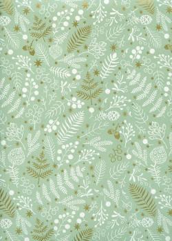 Feuillage de Noël blanc et or fond vert (68x98)