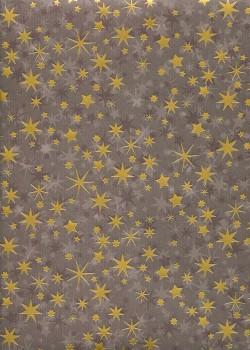 Pluie d'étoiles or sur fond café (48x68)