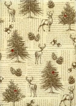 La forêt des cerfs sur fond d'écriture (70x100)