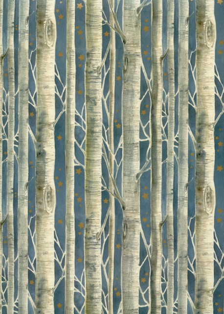 Les troncs d'arbres fond bleu (70x100)