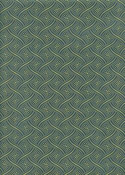 """""""Tressage"""" jaune fond bleu canard (50x70)"""