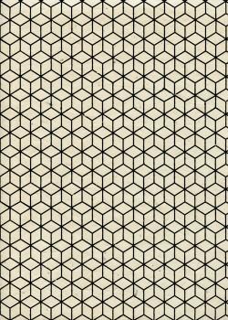 Lokta cubique noir fond ivoire (50x75)
