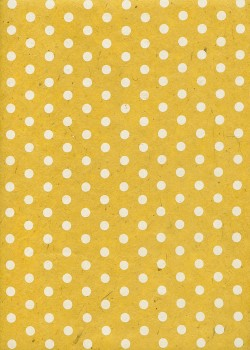 Lokta pois blancs fond jaune (50x75)