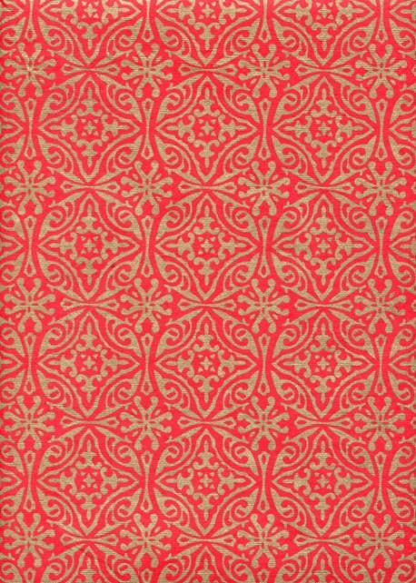 """""""Papier de coton"""" rosaces or fond rouge (55x76)"""