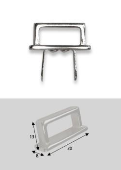 Poignées rectangles argent sur platine (30mm)