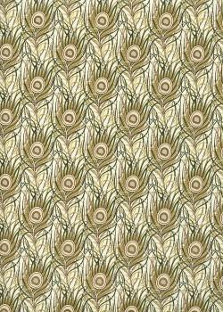 Venise plumes de paon - tendance verte réhaussées or (70x100)