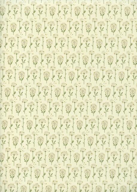 Planche de pissenlits ambiance verte réhaussé or (70x100)