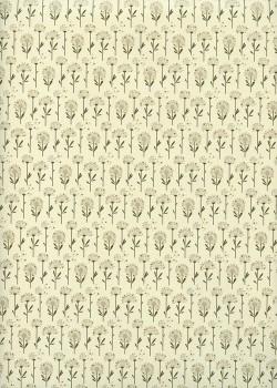 Planche de pissenlits ambiance kaki réhaussé or (70x100)