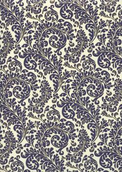 Feuillage bleu fond ivoire réhaussé or (70x100)