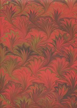 Papier marbré rouge, bordeaux et or (70x100)