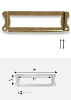 Porte-étiquette festonné doré (72x27mm) + fixations