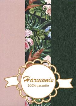 HARMONIE TRIO Floral vert et rose fond noir