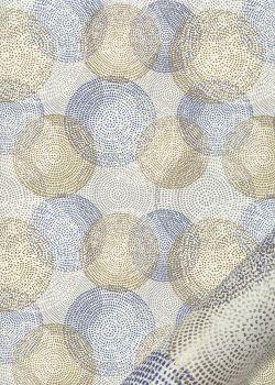 Les sphères bleues et or fond ivoire (49,5x68)
