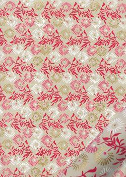 """""""Feuillage"""" framboise blanc et or fond lin (50x70)"""