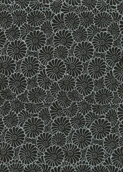Papier lokta floral blanc sur fond noir (50x75)