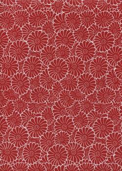 Papier lokta floral blanc sur fond rouge (50x75)
