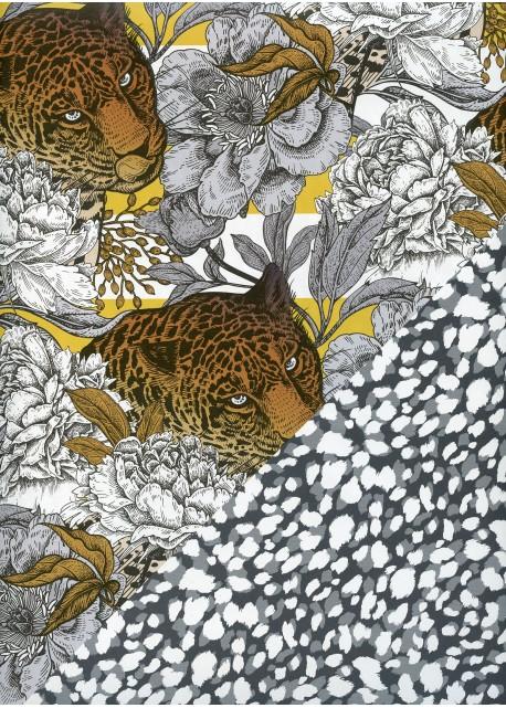 """Recto verso """"Panthère et fleurs / pelage gris et blanc"""" (68x98)"""