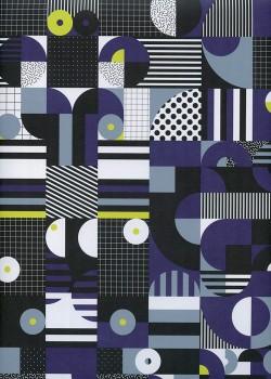 Psychédélique noir blanc et indigo (68x98)