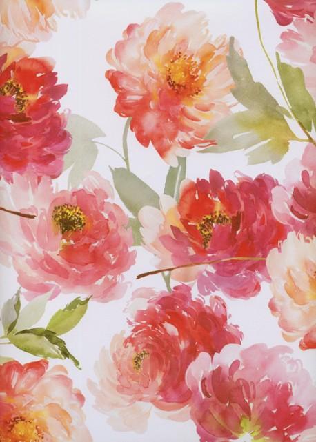 Floral rouge et fuschia fond blanc (68x98)