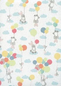 Petits lapins et ballons fond blanc réhaussé de pois argent (68x98)