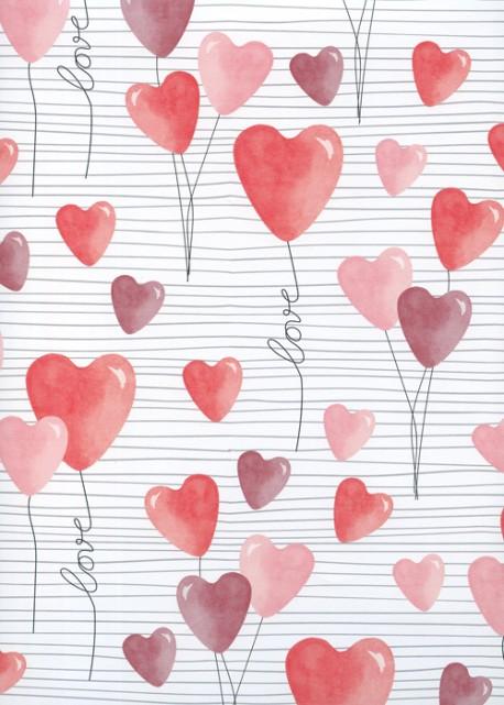 Envol de coeurs sur fond blanc à lignes (68x98)