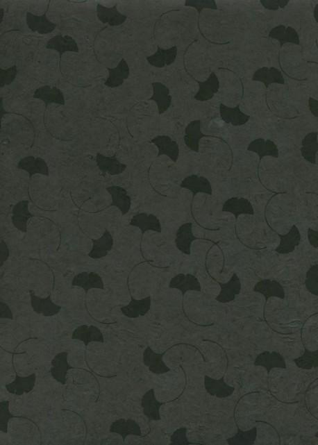 Papier lokta feuilles de Ginkgo biloba noires fond gris anthracite (50x75)