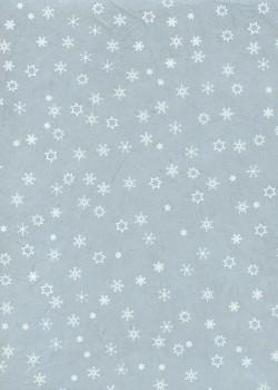 Papier lokta étoiles et flocons blancs fond bleu tendre (50x75)