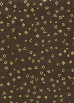Papier lokta étoiles et flocons or fond chocolat (50x75)