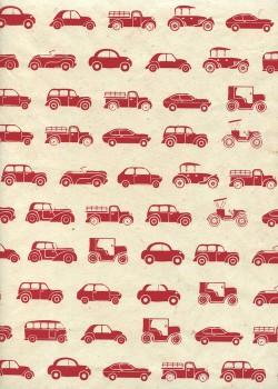 Lokta les voitures ton rouge fond naturel (50x75)