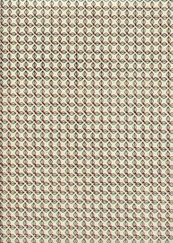 Lokta géométrique noir et rouge fond ivoire (50x75)