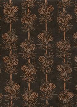 Papier lokta pommes de pin ton cuivre fond chocolat (51x77)
