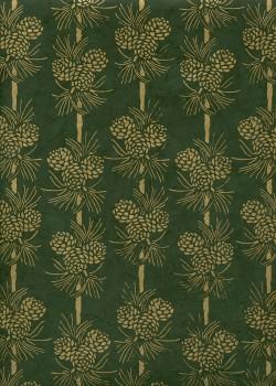 Papier lokta pommes de pin ton or fond vert sapin (51x77)