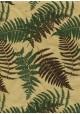 Papier lokta feuilles de fougère vertes et chocolat fond beige (50x75)