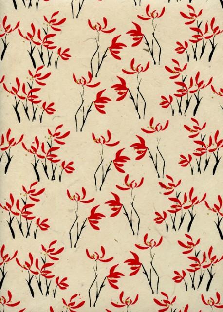 Papier lokta buissons fleuris en ton rouge et noir fond ivoire (50x75)