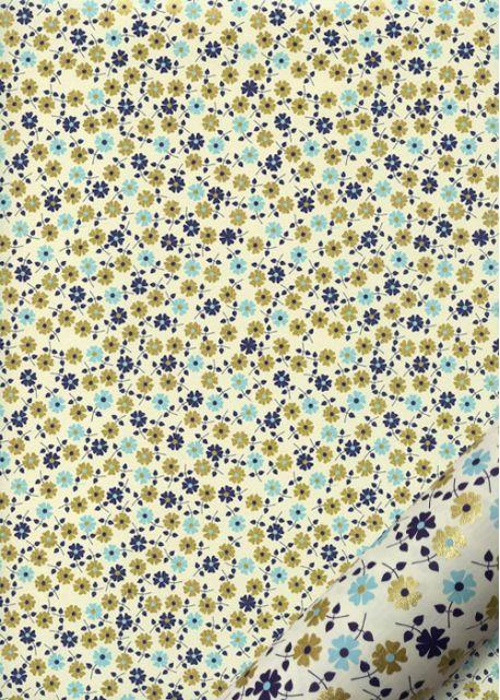 Tapis de fleurs ambiance bleue réhaussé or (70x100)